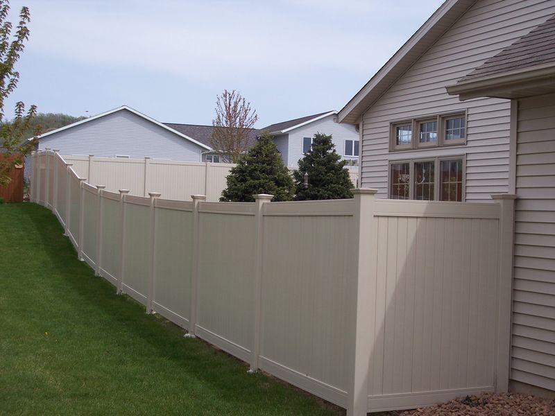 Tan Vinyl Fencing